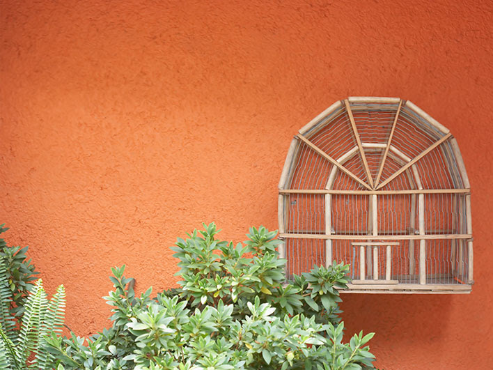 painted orange stucco wall